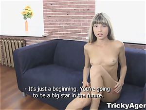 Tricky Agent - faux light-haired female is super-hot and prepped to pound