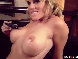 fashionable Charisma uses her fresh fucktoy to touch her poon