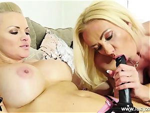insatiable towheaded rides ample strap on dildo then gets smashed by massager
