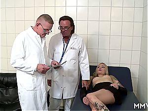 3some anal checkup for German blonde