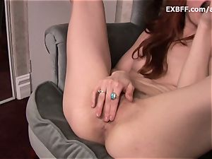 unshaved red-haired sprays after intense self fuckin' scene