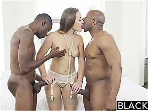 BLACKED Dani Daniels vs 2 gigantic bbc!