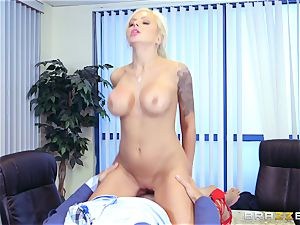 strict huge-titted chief Nina Elle exploits its employees during a date