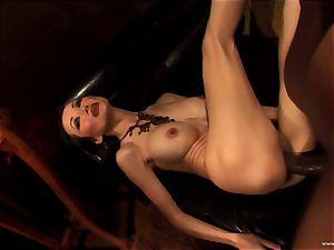 Ange Venus getting pinched down on sofa by dark-hued boy