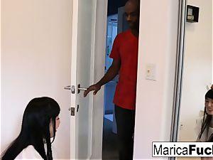Marica gives a customer a nice utter figure massage