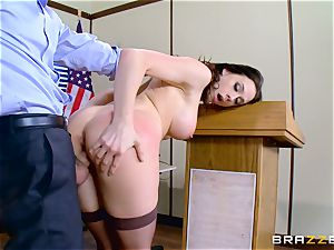 Chanel Preston inhaling on Charles Deras phat pipe
