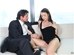 garrulous Dillion Harper shafted by a suited stud