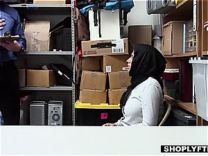 fat jugged hijab teen gets a facial cumshot in the shop backoffice
